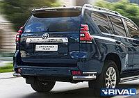 Защита заднего бампера d76+d42 Уголки + комплект крепежа, RIVAL, Toyota Land Cruiser 150 Prado 2017-
