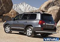 Защита заднего бампера d76 + комплект крепежа, RIVAL, Toyota Land Cruiser 200 2011-2015