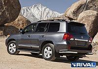 Защита заднего бампера d76+d42 уголки + комплект крепежа, RIVAL, Toyota Land Cruiser 200 2011-2015