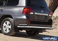 Защита заднего бампера d76+d42 + комплект крепежа, RIVAL, Toyota Land Cruiser 200 2011-2015