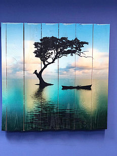 Картина «Лодка у дерева на реке» 60×80 см