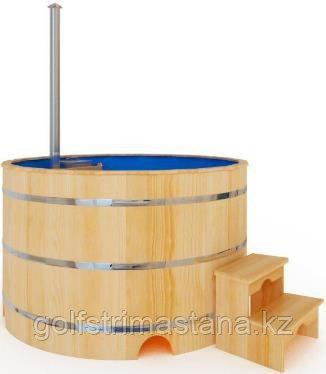 Купель-Фурако д. 200 см. из кедра ПРЕМИУМ / круглая / с пластиковой вставкой / внутренняя печь