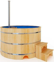 Купель-Фурако д. 150 см. из кедра ПРЕМИУМ / круглая / с пластиковой вставкой / внутренняя печь