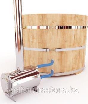 Купель-Фурако д. 150 см. из кедра ПРЕМИУМ / круглая / с пластиковой вставкой / наружная печь
