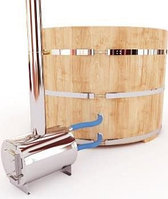 Купель-Фурако д. 150 см. из кедра ПРЕМИУМ / круглая / с пластиковой вставкой / наружная печь, фото 1