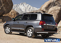 Защита заднего бампера d76 уголки + комплект крепежа, RIVAL, Toyota Land Cruiser 200 2011-2015