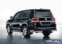 Защита заднего бампера d76+d42 уголки + комплект крепежа, RIVAL, Toyota Land Cruiser 200 2015-