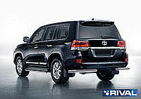 Защита заднего бампера d76 уголки + комплект крепежа, RIVAL, Toyota Land Cruiser 200 2015-