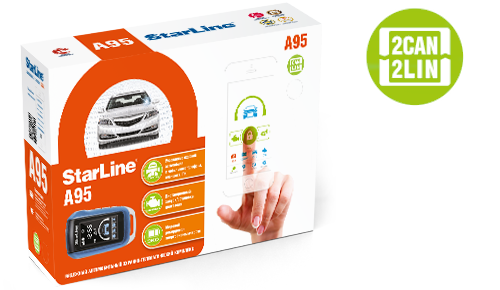 StarLine A95 BT 2CAN+2LIN, 2 пульта, Bluetooth, модуль CAN-LIN в комплекте