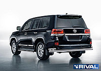 Защита заднего бампера d76+d42 + комплект крепежа, RIVAL, Toyota Land Cruiser 200 2015-