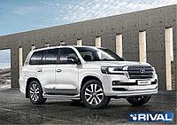 Защита переднего бампера 75х42 + комплект крепежа, RIVAL, Toyota LC200 Excalibur 2017-