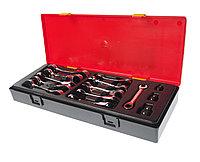 JTC Набор ключей комбинированных 8-19мм укороченных трещоточных 14 предметов в кейсе JTC
