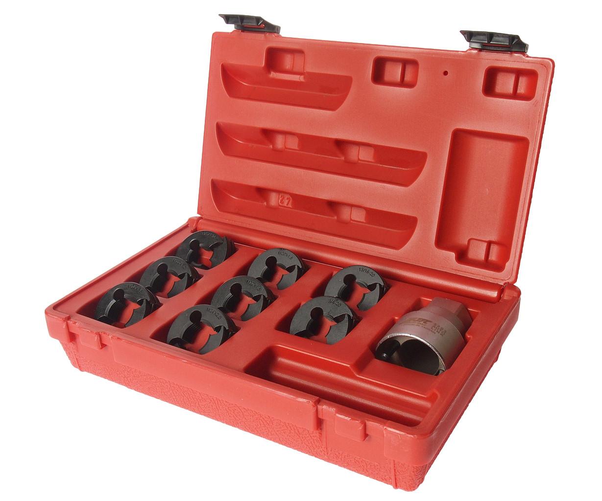 JTC Набор инструментов для восстановления резьбы оси ШРУСа (М24х2.0-М20х1.25, 3/4х20) в кейсе JTC