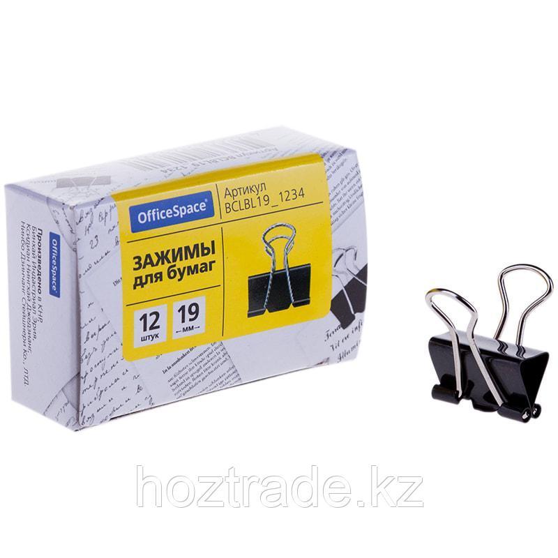 Зажимы для бумаг 19 мм, OfficeSpace, 12 шт, черные, картонная коробка