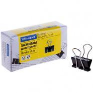 Зажимы для бумаг OfficeSpace, 25 мм, 12 штук, черные, картонная коробка.