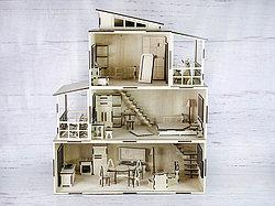 Кукольный домик из фанеры с мебелью.