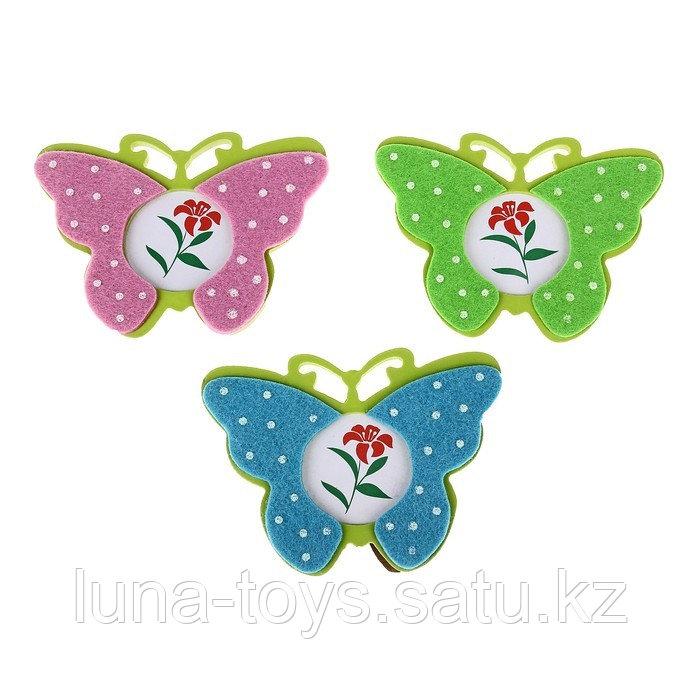 """Фоторамка детская """"Бабочки"""" с декором, фото 4,5*4,5, цвета МИКС"""