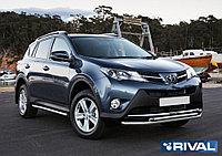 Защита переднего бампера d57+d57 + комплект крепежа, RIVAL, Toyota Rav 4 2013-2015