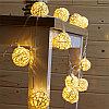 """Светодиодная гирлянда """"Плетеные шарики"""" - 5 метров, 20 белых шариков, теплый свет"""
