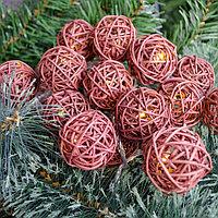 """Светодиодная гирлянда """"Плетеные шарики"""" - 5 метров, 20 коричневых шариков, теплый свет"""