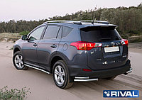 Защита заднего бампера d57+d42 уголки + комплект крепежа, RIVAL, Toyota Rav 4 2013-2015