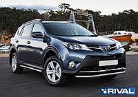 Защита переднего бампера d57 + комплект крепежа, RIVAL, Toyota Rav 4 2013-2015