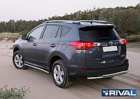 Защита заднего бампера d57+d57 + комплект крепежа, RIVAL, Toyota Rav 4 2013-2015