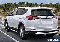 Защита заднего бампера d57 + комплект крепежа, RIVAL, Toyota Rav 4 2015-