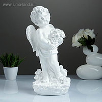 "Фигура ""Ангел с цветами"" большой белый 20х19х42см"