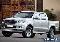 Защита переднего бампера d76+d42 + комплект крепежа, RIVAL, Toyota Hilux 2011-2015