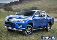 Защита переднего бампера d76+d57 + комплект крепежа, RIVAL, Toyota Hilux 2015- (кроме Exclusive)
