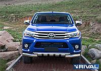Защита переднего бампера d76+d57 с профильной защитой картера + комплект крепежа, RIVAL, Toyota Hilux 2015- (к