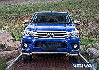 Защита переднего бампера d57 волна + комплект крепежа, RIVAL, Toyota Hilux 2015- (кроме Exclusive)