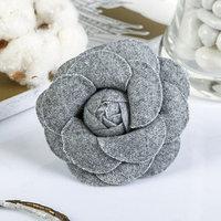 Декор для творчества войлок 'Королевская роза' серый (набор 2 шт) 6,5х6,5 см