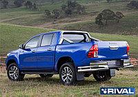 Защита заднего бампера d76+d42 уголки + комплект крепежа, RIVAL, Toyota Hilux 2015-