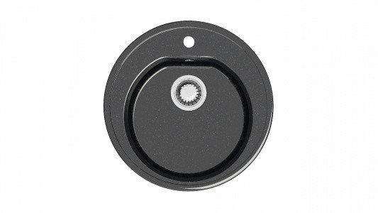Мойка глянец Z03Q4 Черая (черная) + (сифон+герметик) Granit MARR круглая, фото 2