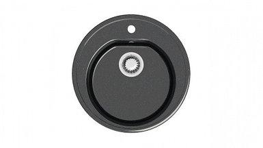 Мойка глянец Z03Q4 Черая (черная) + (сифон+герметик) Granit MARR круглая