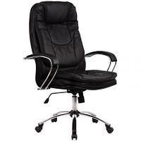 Кресло руководителя Метта LK-11 CH, кожа черная № 721, механизм качания