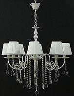 8 рожковая люстра белая с серебром с висюльками, фото 1