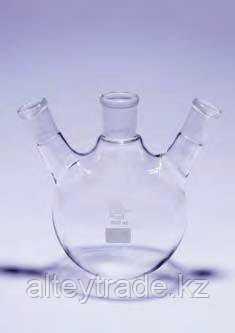 Колба круглодонная КГУ-3-1-25 с 3-мя горловинами под углом со шлифами 19/26-14/23-14/23 (Quickfit)