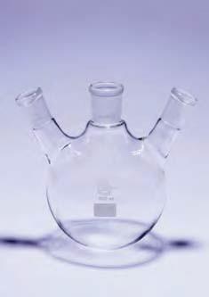 Колба круглодонная КГУ-3-1-50 с 3-мя горловинами под углом со шлифами 19/26-14/23-14/23 (Quickfit)