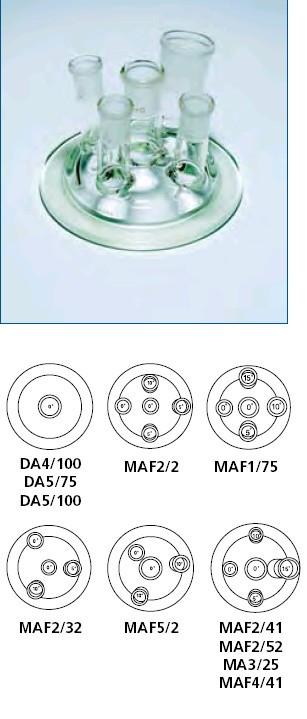Крышка стеклянная с пришлифованными краями для бутылей (код FV) d-100 мм, шлифы-19/26-19/26-19/26-19/26-34/35 (Quickfit)