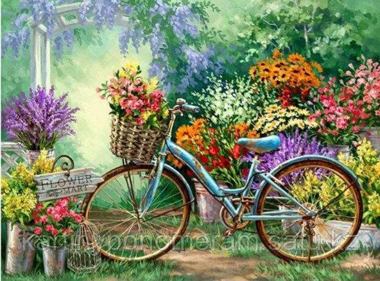 """Картина по номерам """"Велосипед у цветочной лавки"""""""