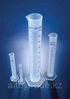 Цилиндр мерный с носиком высокий, 100 мл, ц.д.1 мл, класс В, 6-гранное основание, синяя шкала, РР (Azlon)