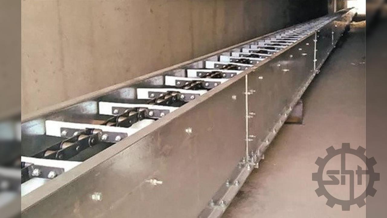 Цепной конвейер транспортер скребковый для зерна и сыпучих материалов