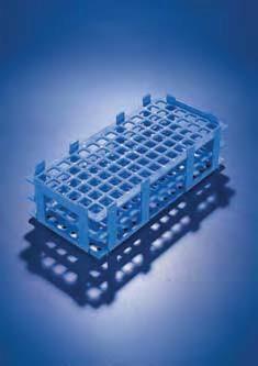 Штатив для пробирок, пластиковый, корзиночного типа, квадратные гнезда (32 гнезда, d пробир-26 мм), синий (PP) (Azlon)