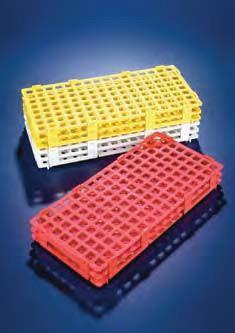 Штатив для микроцентрифужных пробирок, пластиковый (128 гнезд, для 1,5 мл пробирок), желтый (PP) (Azlon)