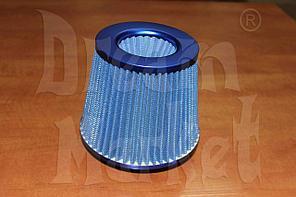 Фильтр нулевого сопротивления Racing, диаметр гофры 75 мм, высота 155 мм, синий