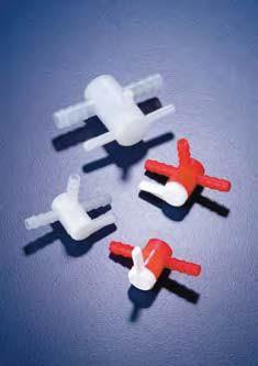 Вентиль трехходовой фторопластовый для шлангов с внутр.d-6-7 мм (PVDF) (Azlon)