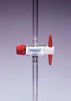 Кран соединительный одноходовой, D-4 мм, D отвода-10 мм, L-100 мм с ключом из PTFE (Pyrex)